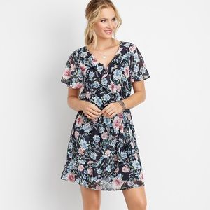Maurice's floral ruffled wrap front dress